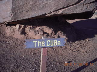 156 83q. Monument Valley tour - the CUBe sign