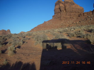 204 83q. Monument Valley tour - our vehicle's shadow