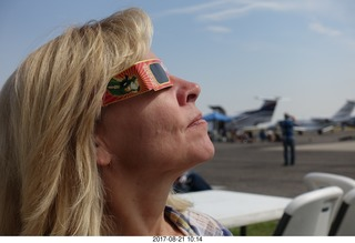 51 9sm. Riverton Airport - Kim watching the eclipse