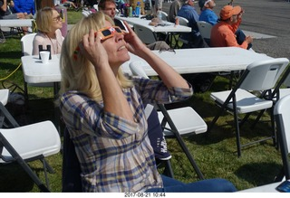 90 9sm. Riverton Airport - Kim watching the eclipse