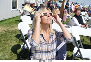 91 9sm. Riverton Airport - Kim watching the eclipse