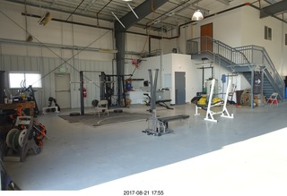 120 9sm. Rock Springs Airport  - weight room in the hangar