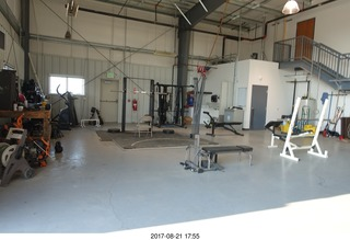 121 9sm. Rock Springs Airport  - weight room in the hangar