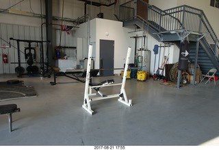 122 9sm. Rock Springs Airport  - weight room in the hangar