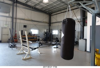 123 9sm. Rock Springs Airport  - weight room in the hangar